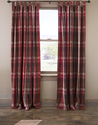 North End Decor Lodge Retreat Red Striped Plaid Tab Top 54 x 84 Set of 2 Curtain Panels