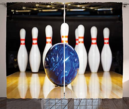 Exceptionnel Bowling Party Decorations Curtains By Ambesonne, Blue Abstract Ball On Lane  Pins Close Up View