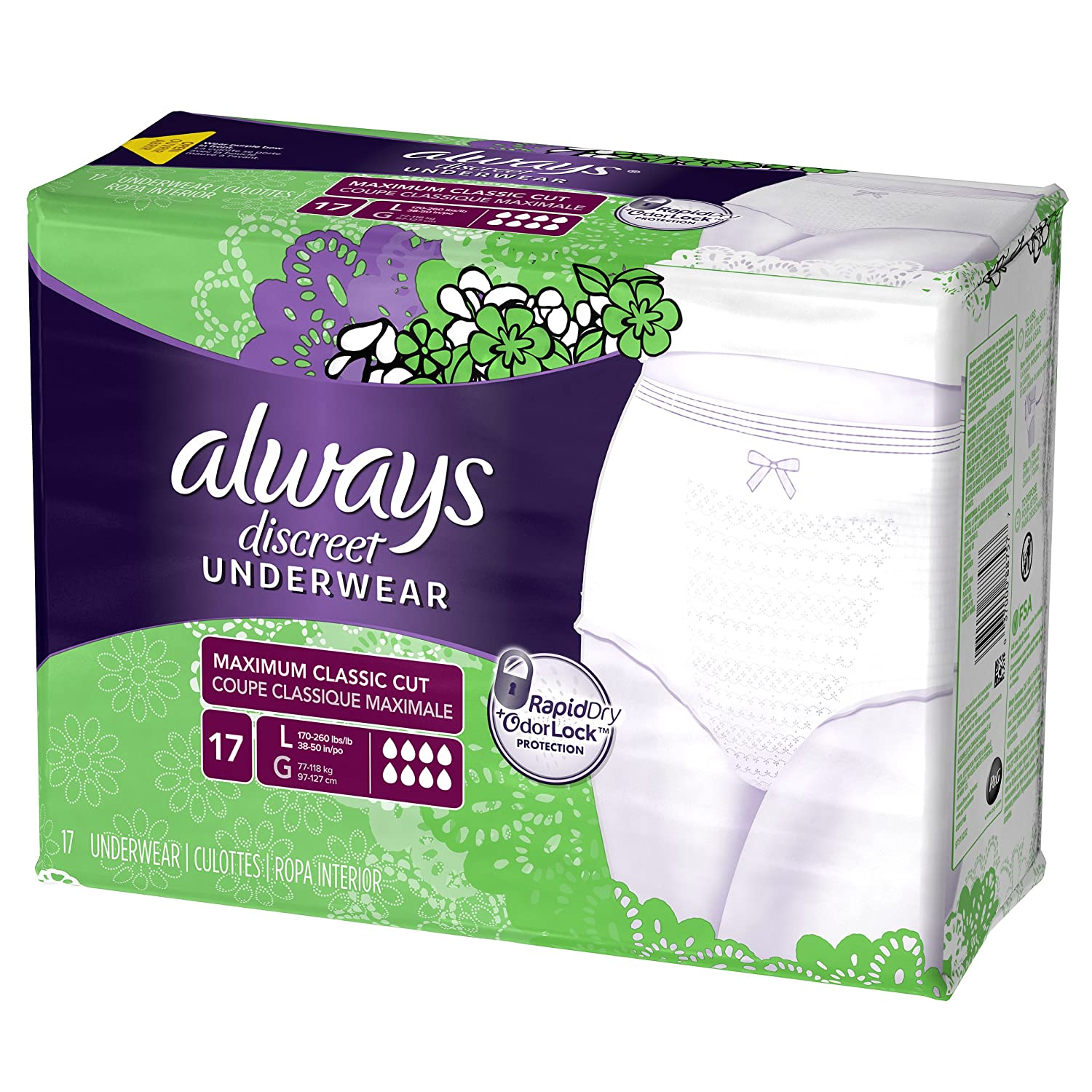 Amazon.com: Always Discreet, Incontinence Underwear for Women, Maximum Classic Cut, Large, 17 Count: Prime Pantry