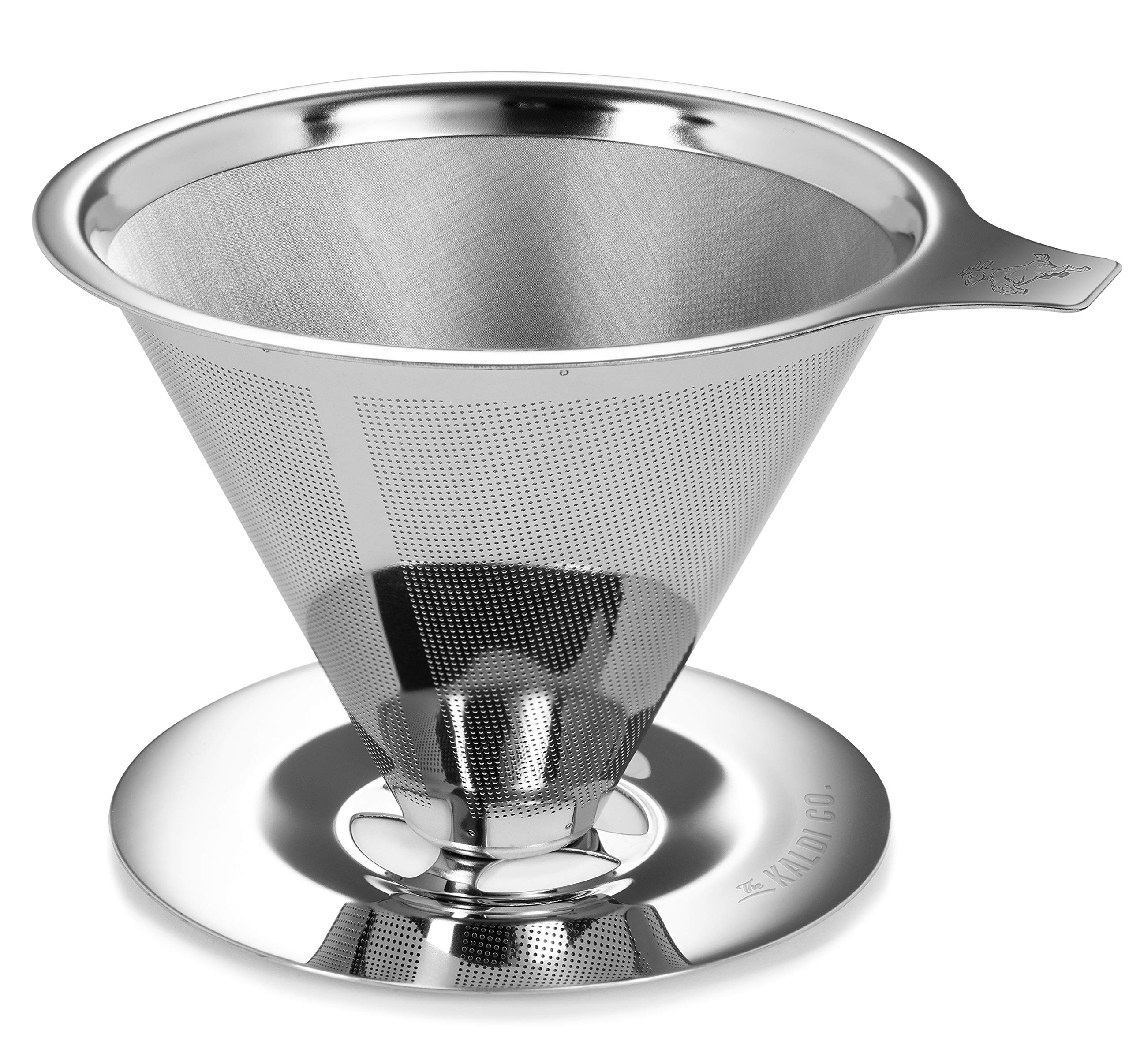 Stainless Steel Pour Over Coffee Dripper, Includes FREE Travel Pouch, Premium Grade Stainless Steel 304 Drip Cone with Ultra Fine Mesh Construction. by The Kaldi Co.