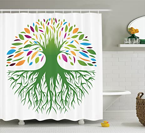 Tree Of Life Decor Shower Curtain Set By Ambesonne Illustration Multi Colored Round Abstract