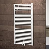 Schulte Bad-Heizkörper Bavaria, 121 x 60 cm, 800 Watt, Mittelanschluss, alpin-weiß, Design-Heizkörper inkl. 2 Handtuchhalter-Knöpfen, für Zweirohrsysteme