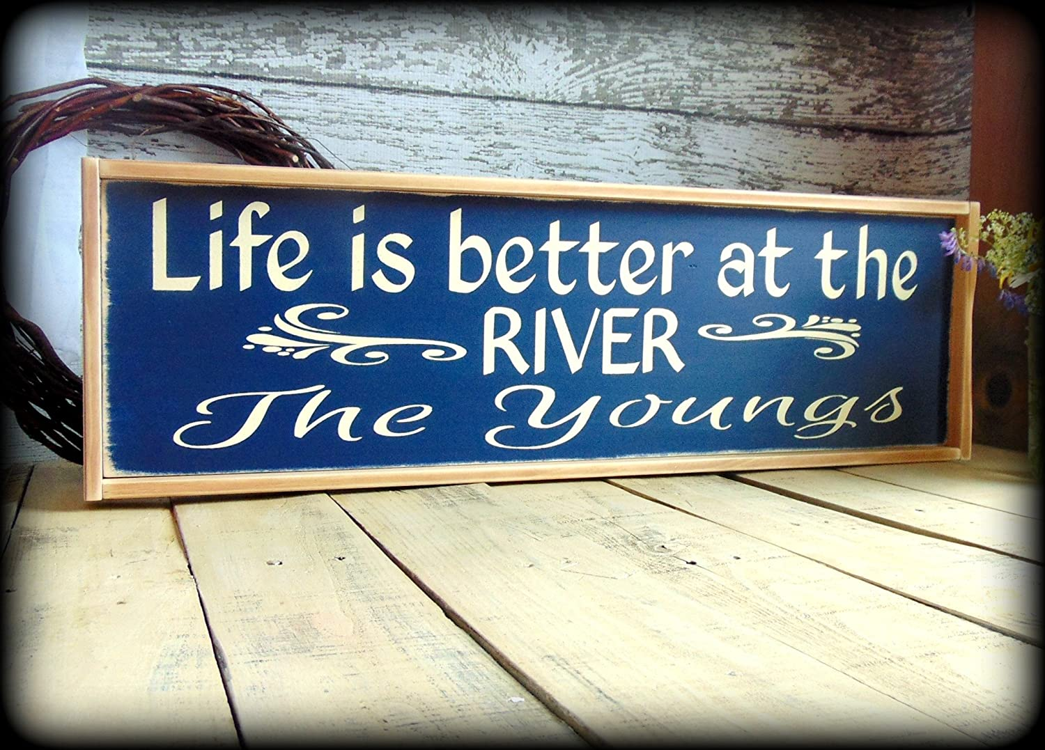 Amazon.com: Personalized Camp Sign Rustic River House Decor: Handmade