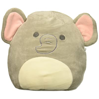 SQUISHMALLOW 8-inch Emma the Baby Elephant with Rattle Children's Plush Toy Pillow, Gray, 8-inch: Toys & Games