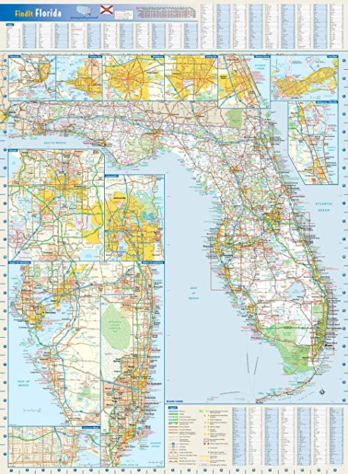 Amazoncom Florida State Wall Map X Inches Matte Plastic - Laminated state wall maps