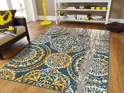 Modern Area Rugs For Living Room 8x10 Blue Yellow Gray Brown Abstract Distressed Medallions Woven