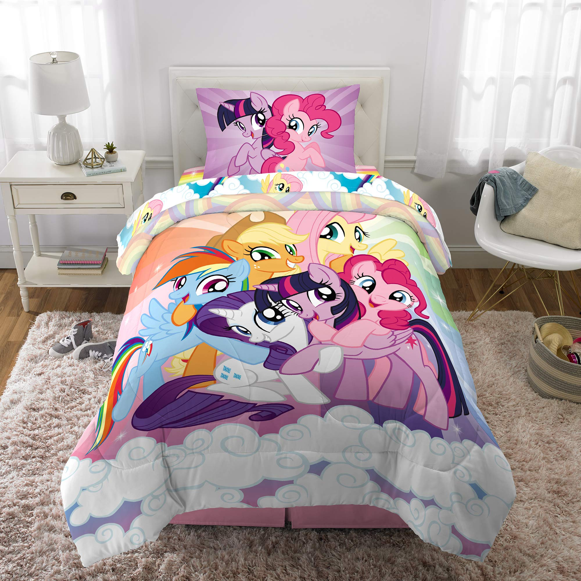 Hasbro My My Little Pony Kids Bedding Soft Microfiber Comforter and Sheet Set, 4 Piece Twin Size, Multi-Color