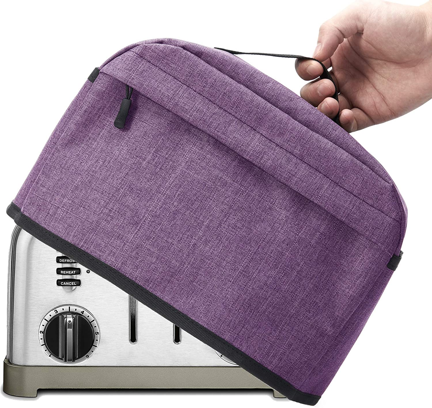 VOSDANS 4 Slice Toaster Cover with Zipper & Open Pockets Kitchen Small Appliance Cover with Handle, Dust and Fingerprint Protection, Machine Washable, Light Purple (Patent Design)