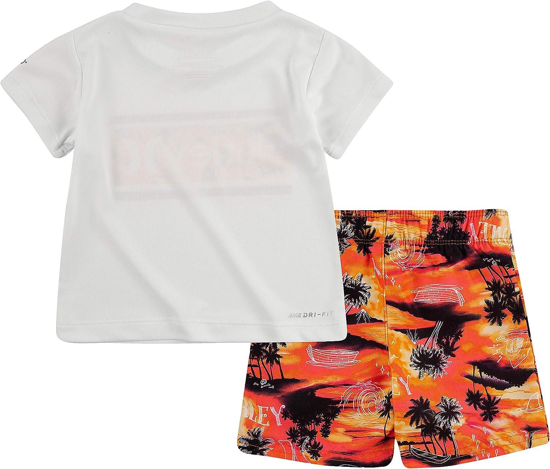 24M Hurley Boys Graphic T-Shirt and Swim Suit 2-Piece Outfit Set Black//Orange Doodle