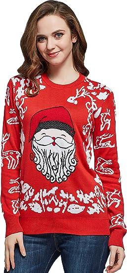 TALLA L. Camii Mia Jersey Súeter Navideño con Decoración de Navidad de Lana para Mujer