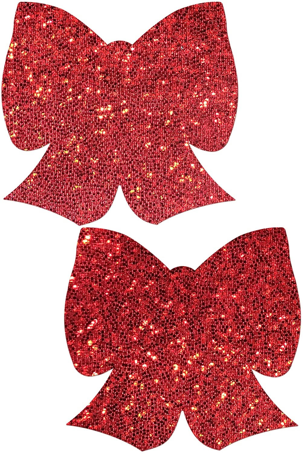 Glittering Red Bow Nipple Pasties by Pastease® o/s BOW-GLT-RD