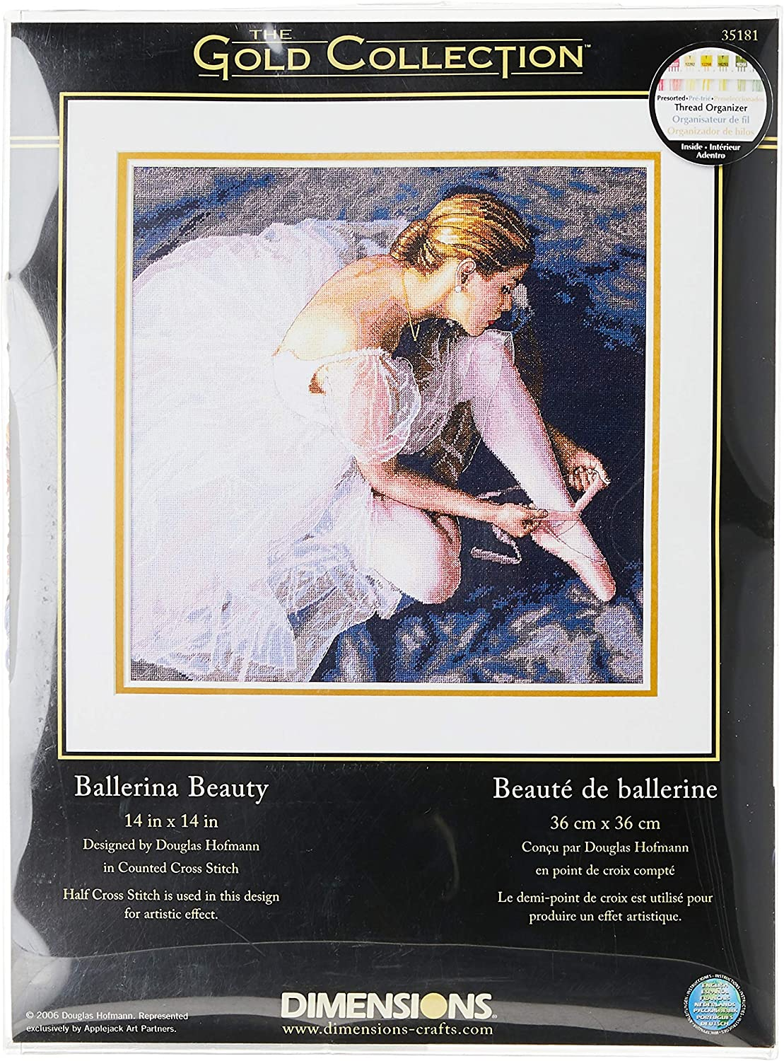 Dimensions Gold Collection Counted Cross Stitch Kit, Beautiful Ballerina, 18 Count White Aida, 14'' x 14''