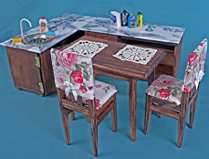 Kitchen set table chairs 2 cabinet sink hob dollhouse wooden furniture 1:6 play-scale for Barbie Blythe dolls 12 inch miniature accessories