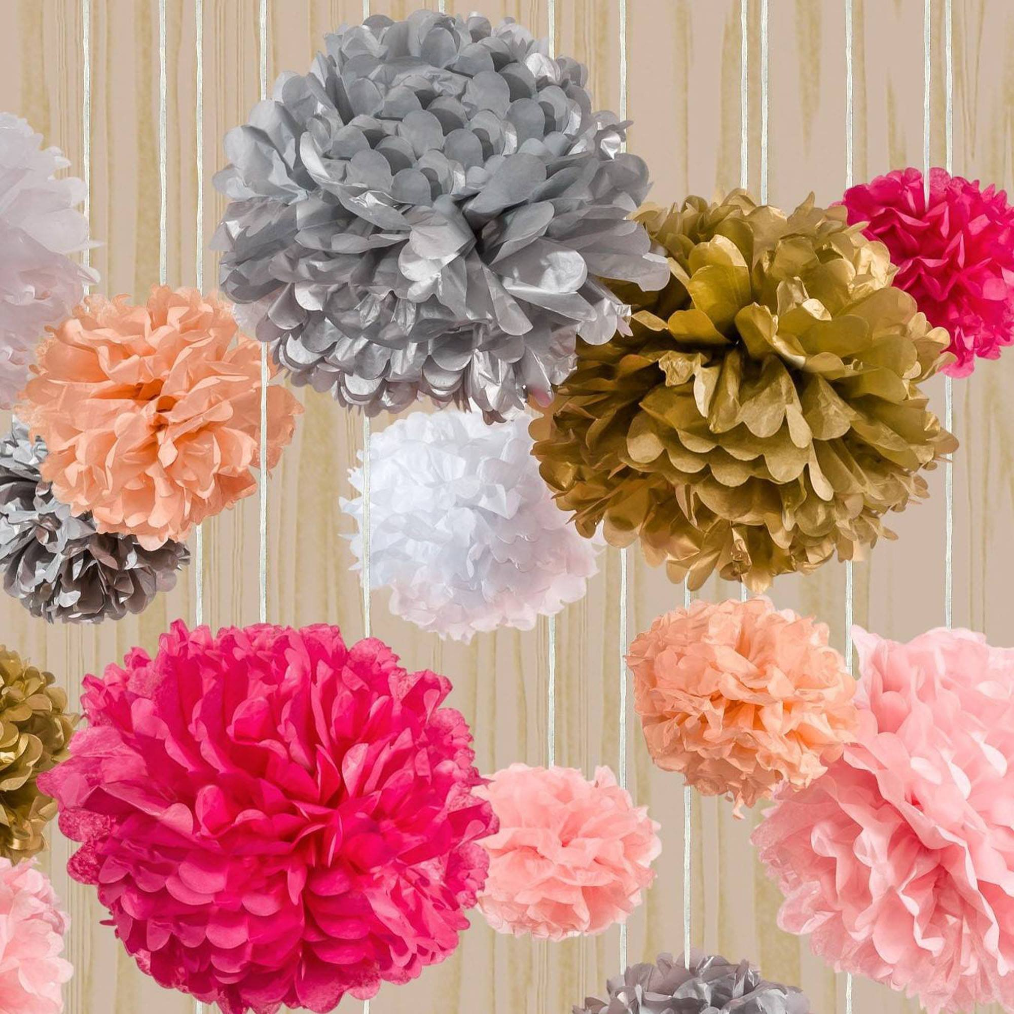 how to make flower pom poms from tissue paper Tissue paper crafts how to make tissue paper pom poms take 10 to 14 sheets of tissue paper and lay them flat i have used 20″ x 26″ paper for this project and this nice large size makes for a big full flower or pom you can cut your tissue paper to be different sizes for each flower to.