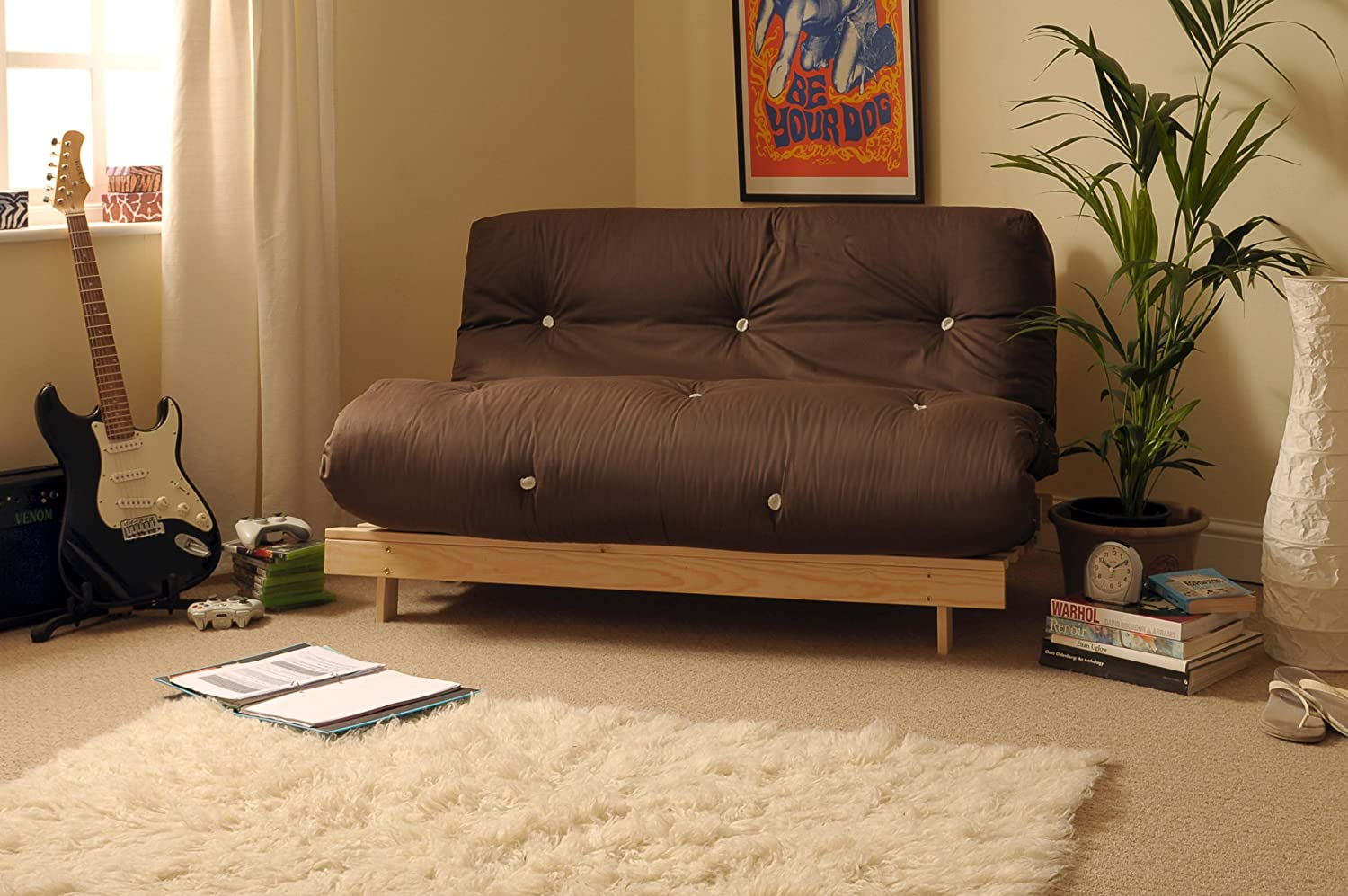 Comfy Living 4ft Small Double 120cm Wooden Futon Set CHOCOLATE Mattress
