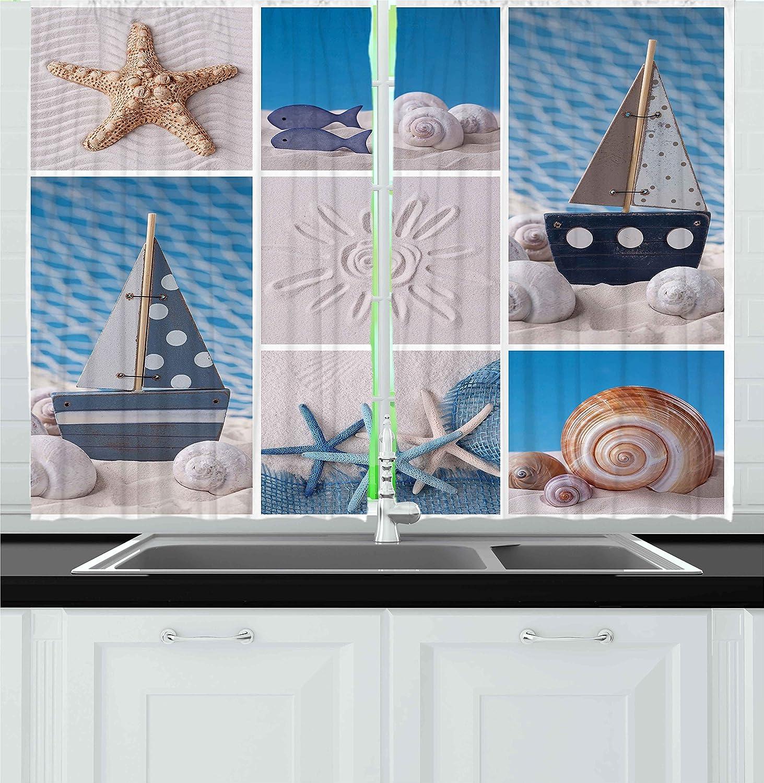 Amazon.com: Ambesonne Nautical Kitchen Curtains, Beach Ocean Exotic ...