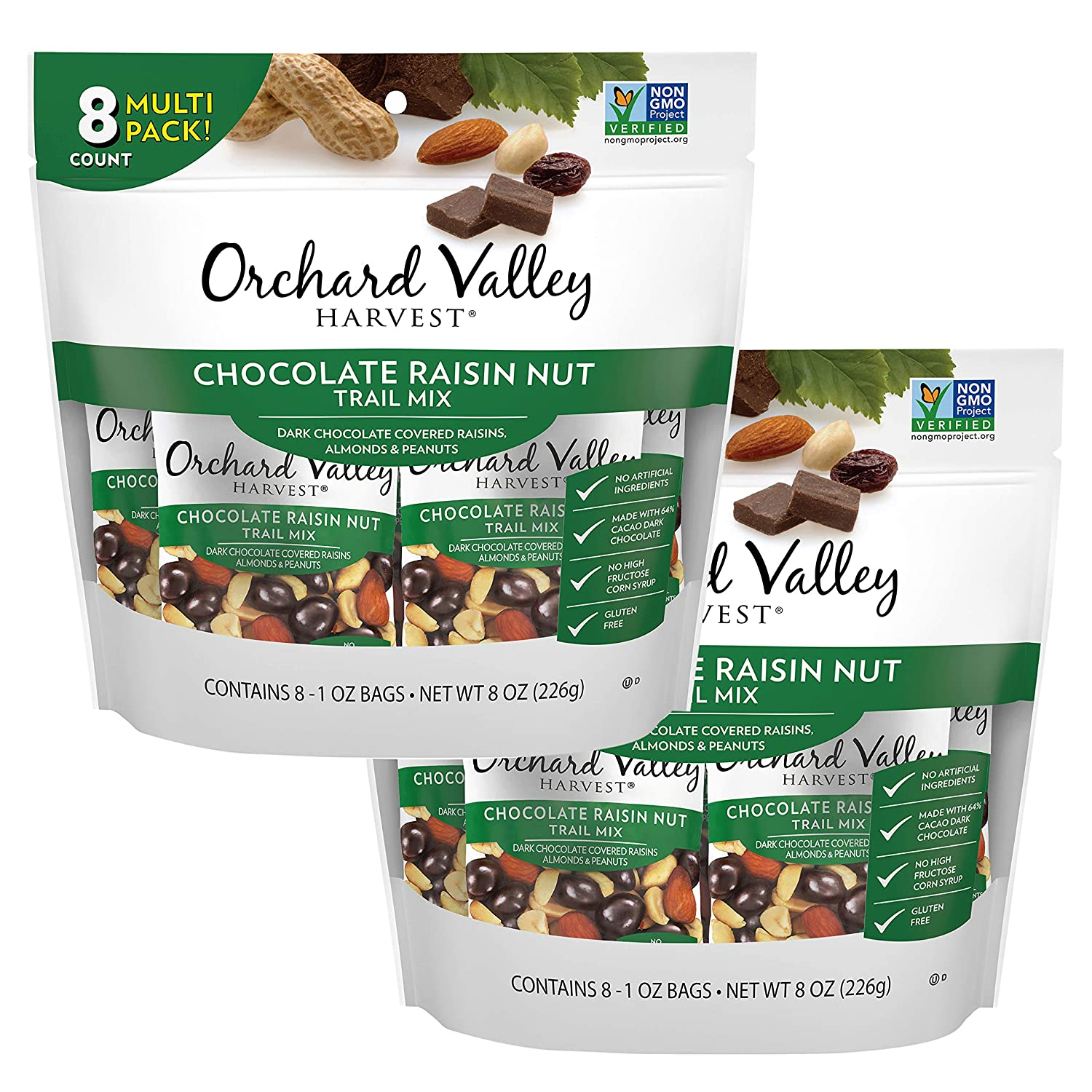 Orchard Valley Harvest Chocolate Raisin Nut Trail Mix, 8 ct Multi Pack, Bundle of 2, Non-GMO, No Artificial Ingredients