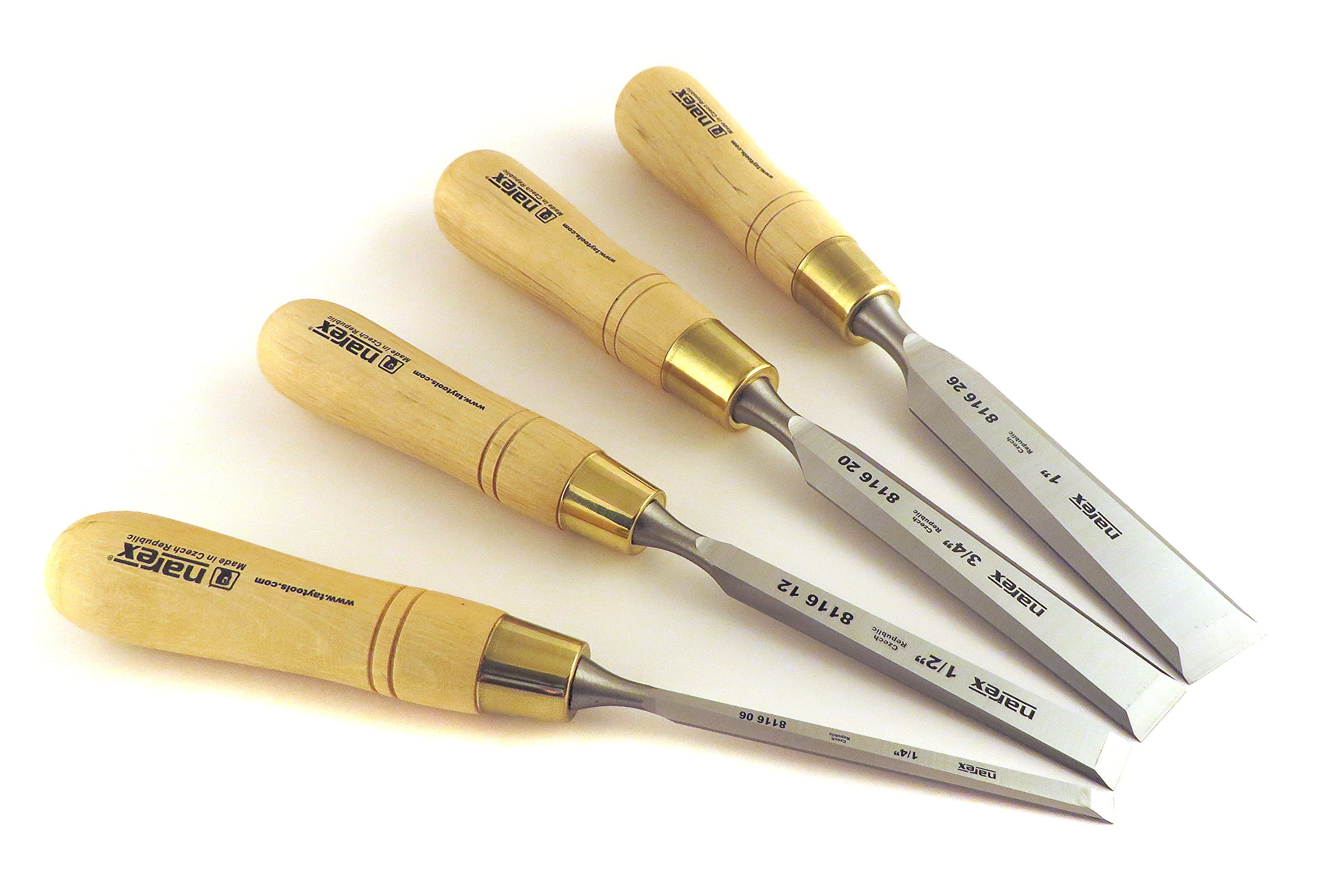 Narex Czech Steel Premium 4 pc Set True Imperial 1/4'', 1/2'', 3/4'', 1'' Bench Cabinetmaker Chisels w/ Hornbeam Handles 863251 by Narex