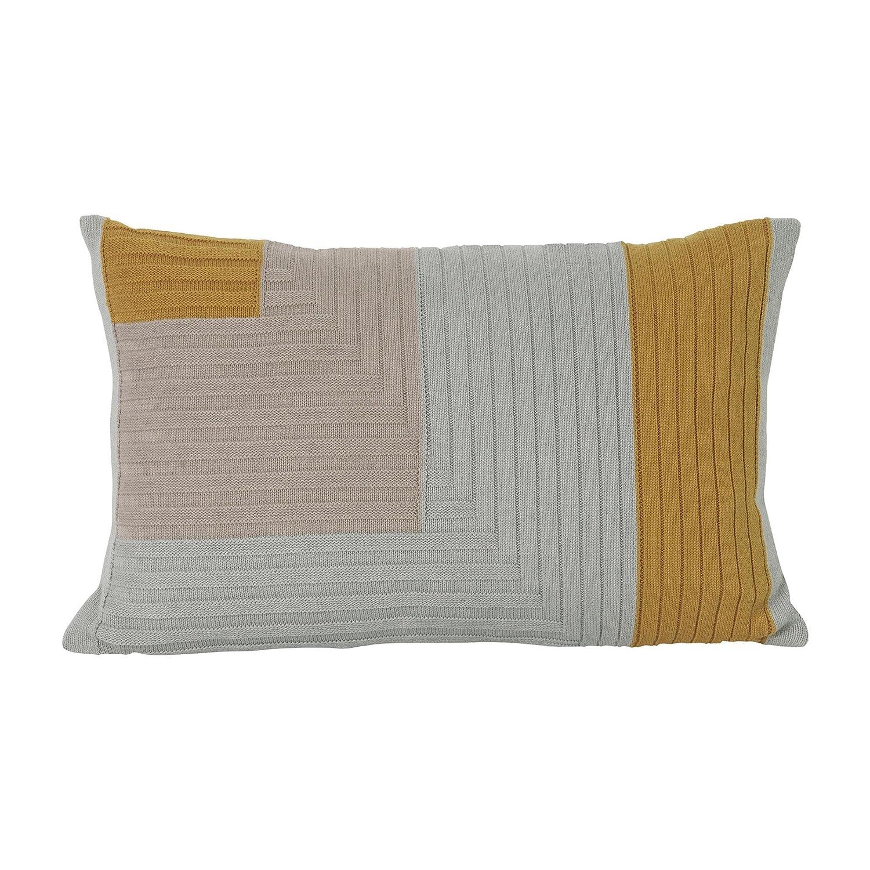 Ferm Living Angle Knit Kissen 60x40cm, Curry LxB 60x40cm Füllung  Federn & Daunen