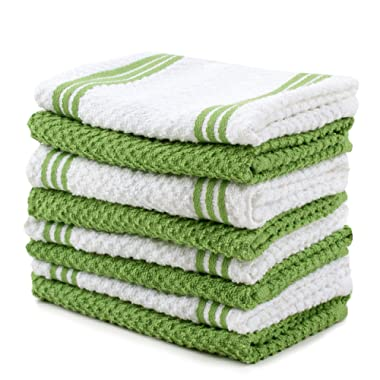 Sticky Toffee Cotton Terry Kitchen Dishcloth, Green, 8 Pack, 12 in x 12 in