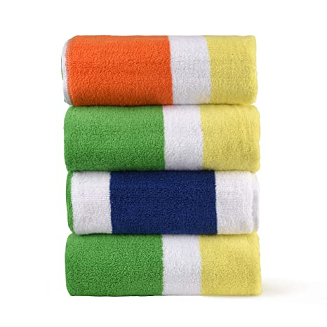 Extra Large Beach Towels.Hornbit Wares Extra Large Beach Towels 100 Cotton Bath Towels Striped Cabana Multi Color 30 X 60 Inches Premium Quality Towels Set Of 4