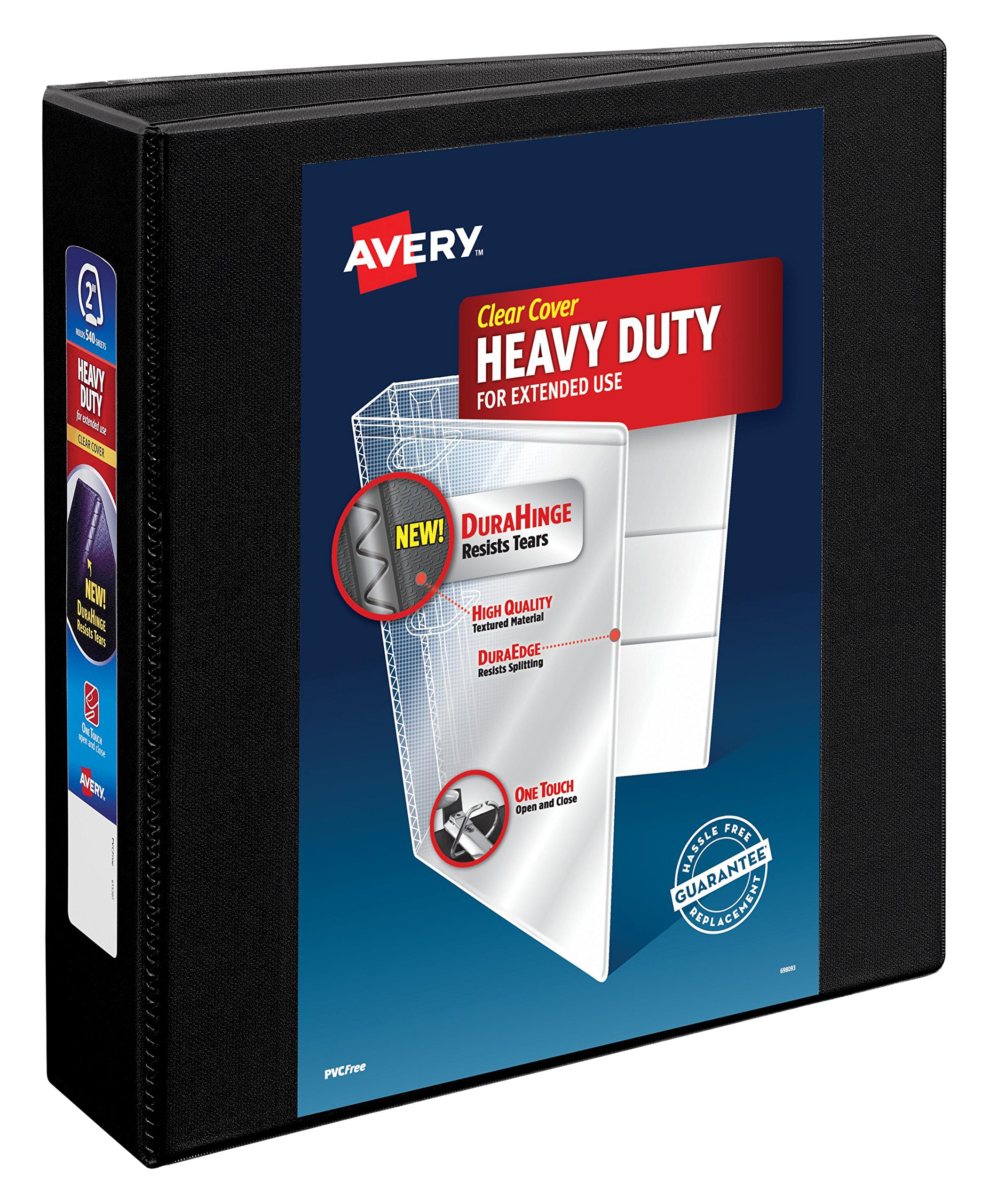 Avery Heavy-Duty View Binder, 2'' One Touch Slant Rings, 500-Sheet Capacity, DuraHinge, Black, Case Pack of 6 (79692)
