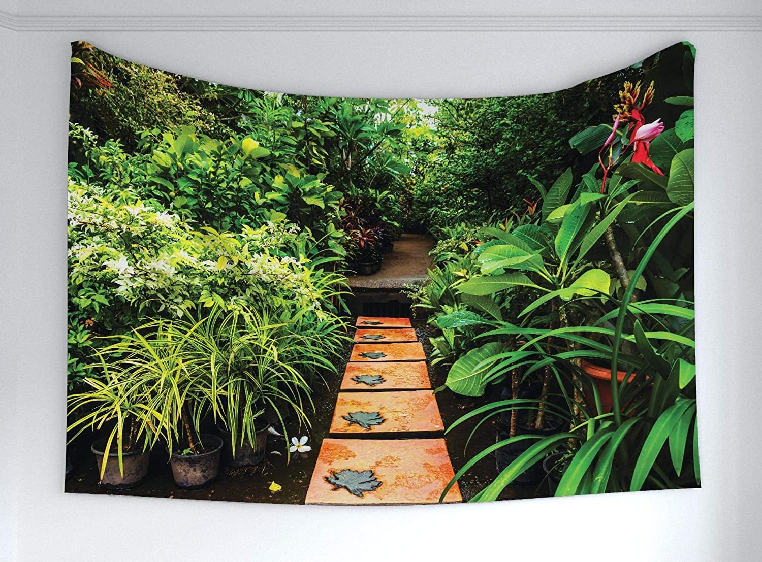 """Ambesonne Peace Garden Tapestry, Garden with Tropical Plants and Wooden Path Tranquility Harmony Theme, Fabric Wall Hanging Decor for Bedroom Living Room Dorm, 90"""" X 60"""", Brown Green"""