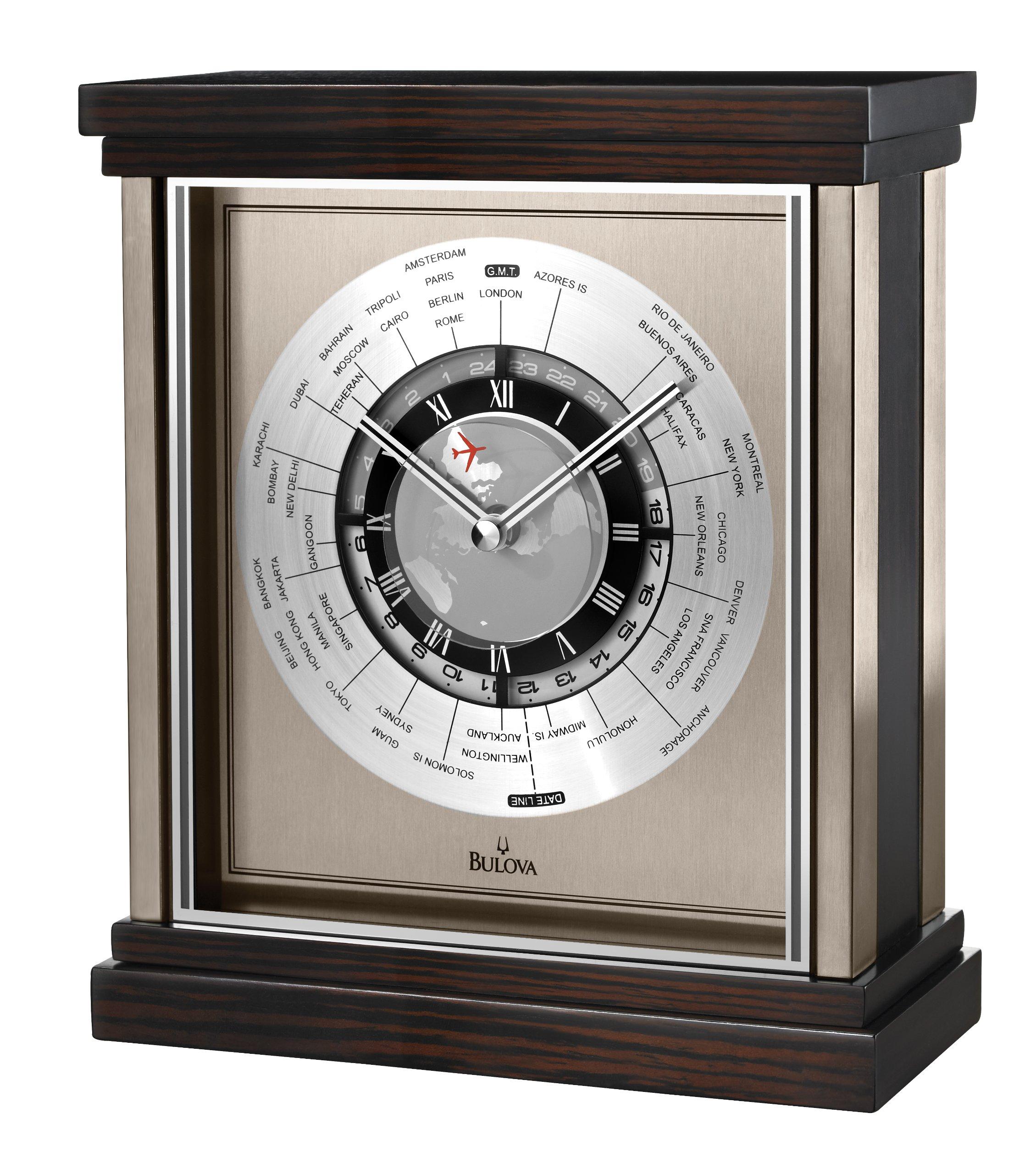 Bulova B2258 Wyndmere World Time Clock - Wood Case Clock Ebony Veneer Pattern With Mahogany Stain Brushed Stainless Steel Corners - clocks, bedroom-decor, bedroom - 91IIuFKx4AL -