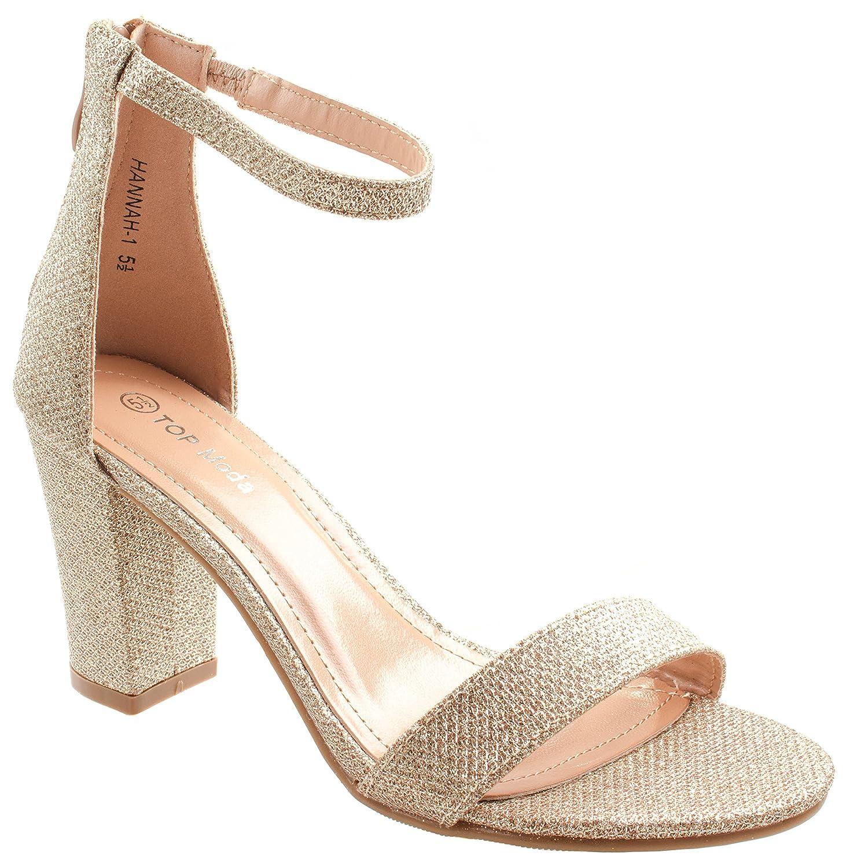 Top Moda Women S Hannah 1 Ankle Strap High Heel Sandal Champagne
