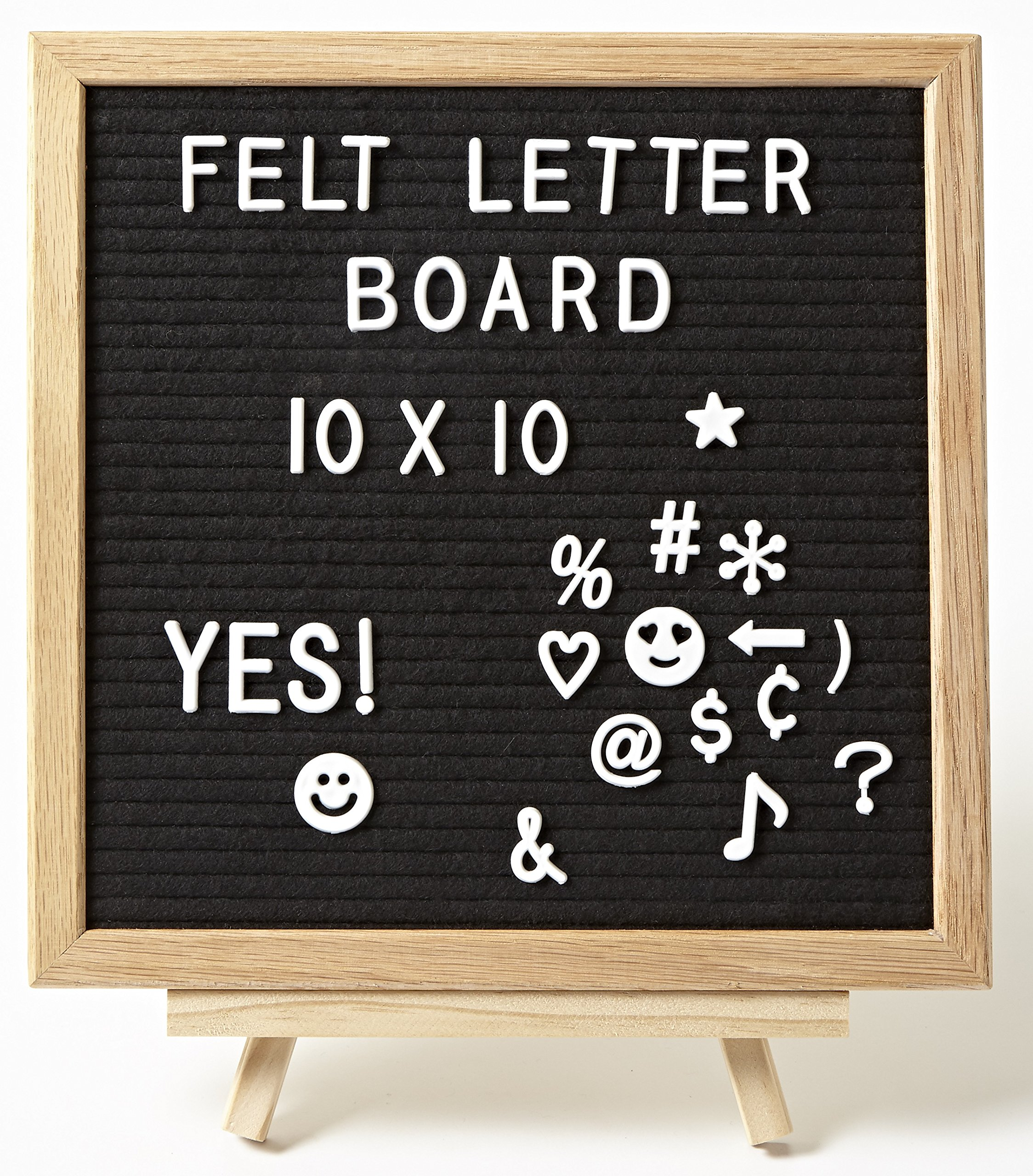 Felt Letter Board Set - Black - 10x10'' Quality Oak Wood Frame - Includes 360 3/4'' and 250 1'' White Letters with Stand and Felt Letter Bags - Changeable Messages Great for Kids