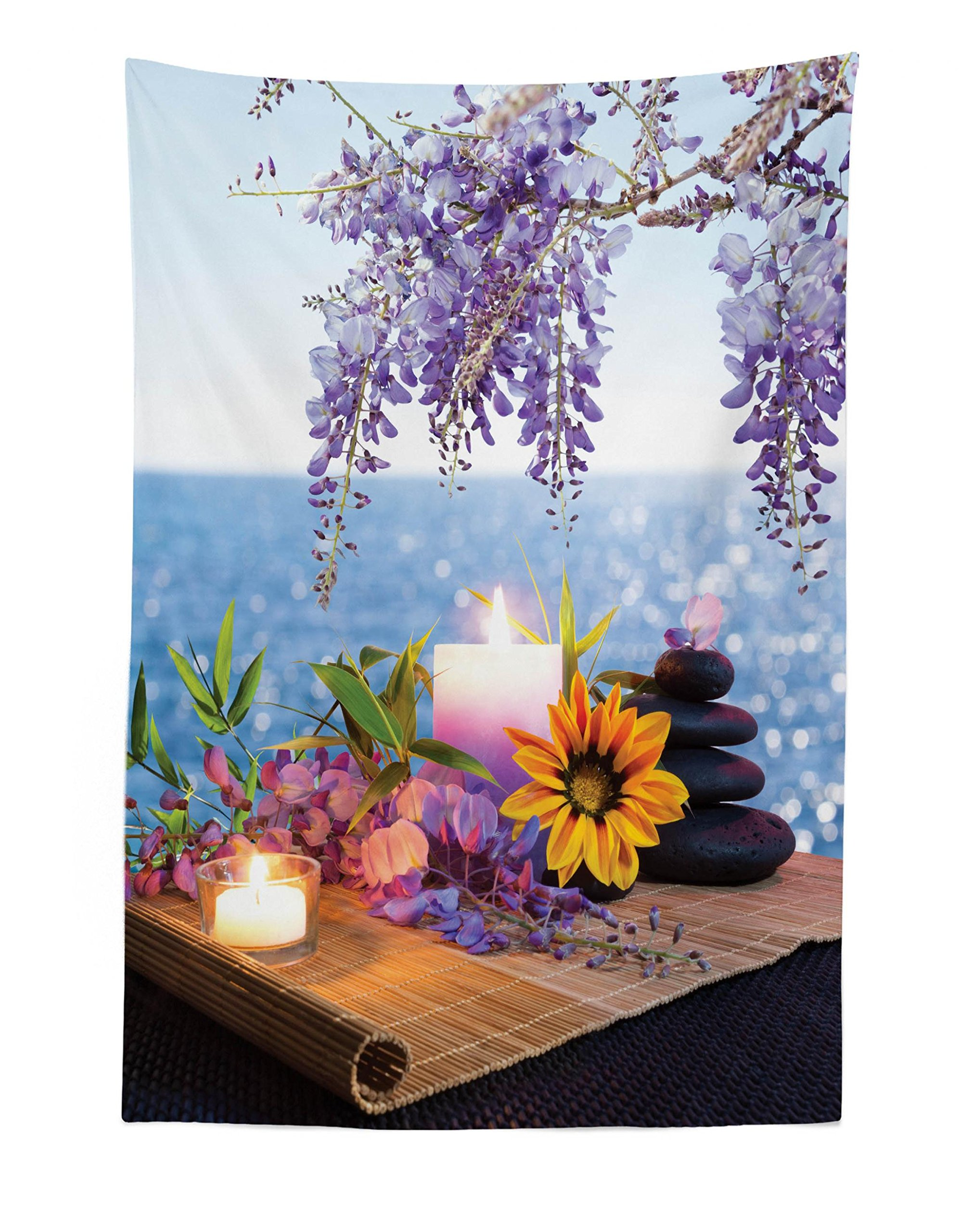 Lunarable Spa Tapestry, Massage Stones with Daisy and Wisteria with The Seabed Foliage Meditation, Fabric Wall Hanging Decor for Bedroom Living Room Dorm, 30 W X 45 L inches, Pale Blue Lavander Green