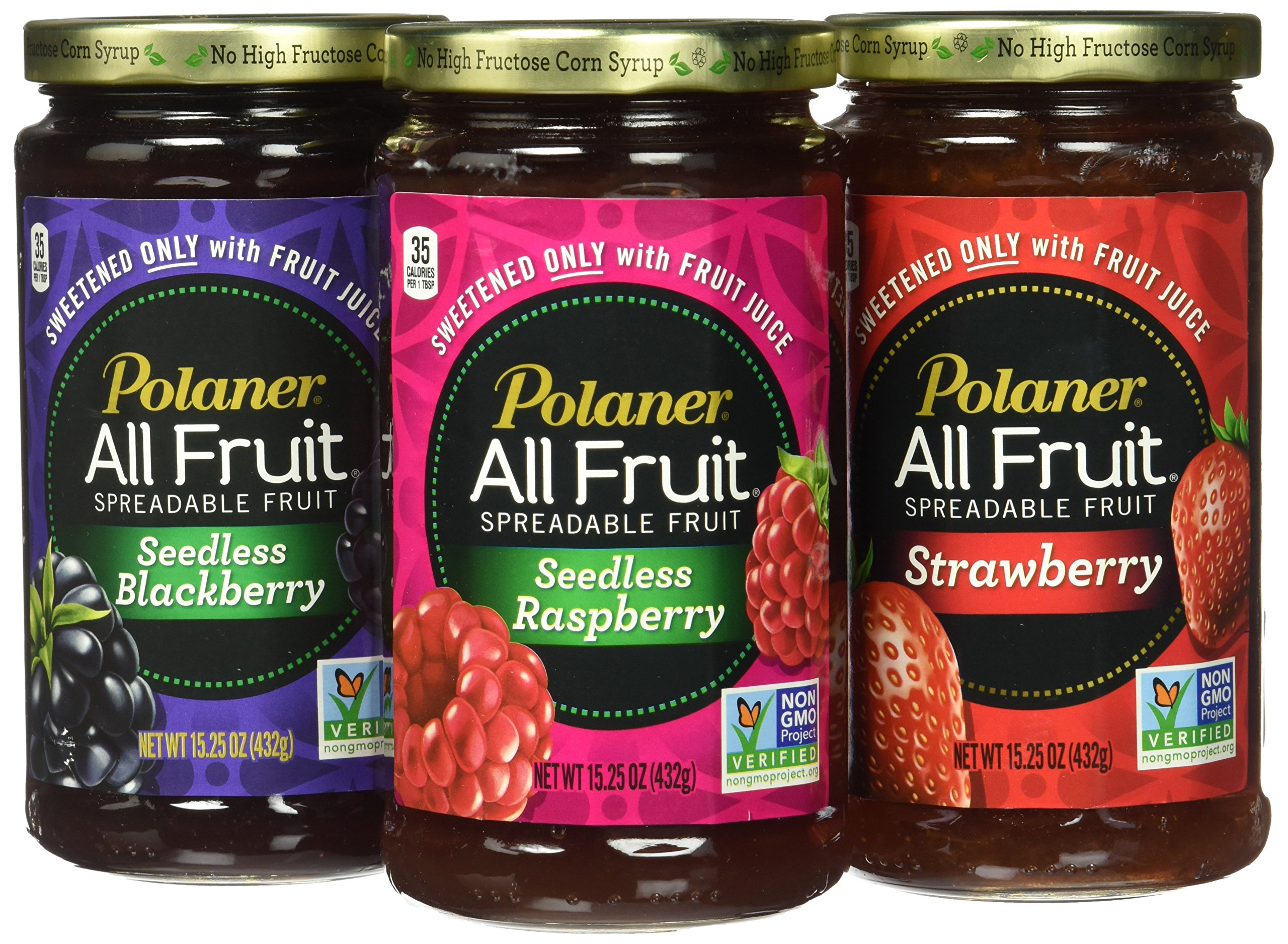 Polaner All Fruit Non-GMO Spreadable Fruit, Assorted Flavors, 15.25 oz (Pack of 3)