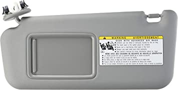 State Warehouse 74320-04181-B1 Left Driver Side Sun Visor Fit for Toyota Tacoma 2005 2006 2007 2008 2009 2010 2011 2012 Visor Without Light-Grey