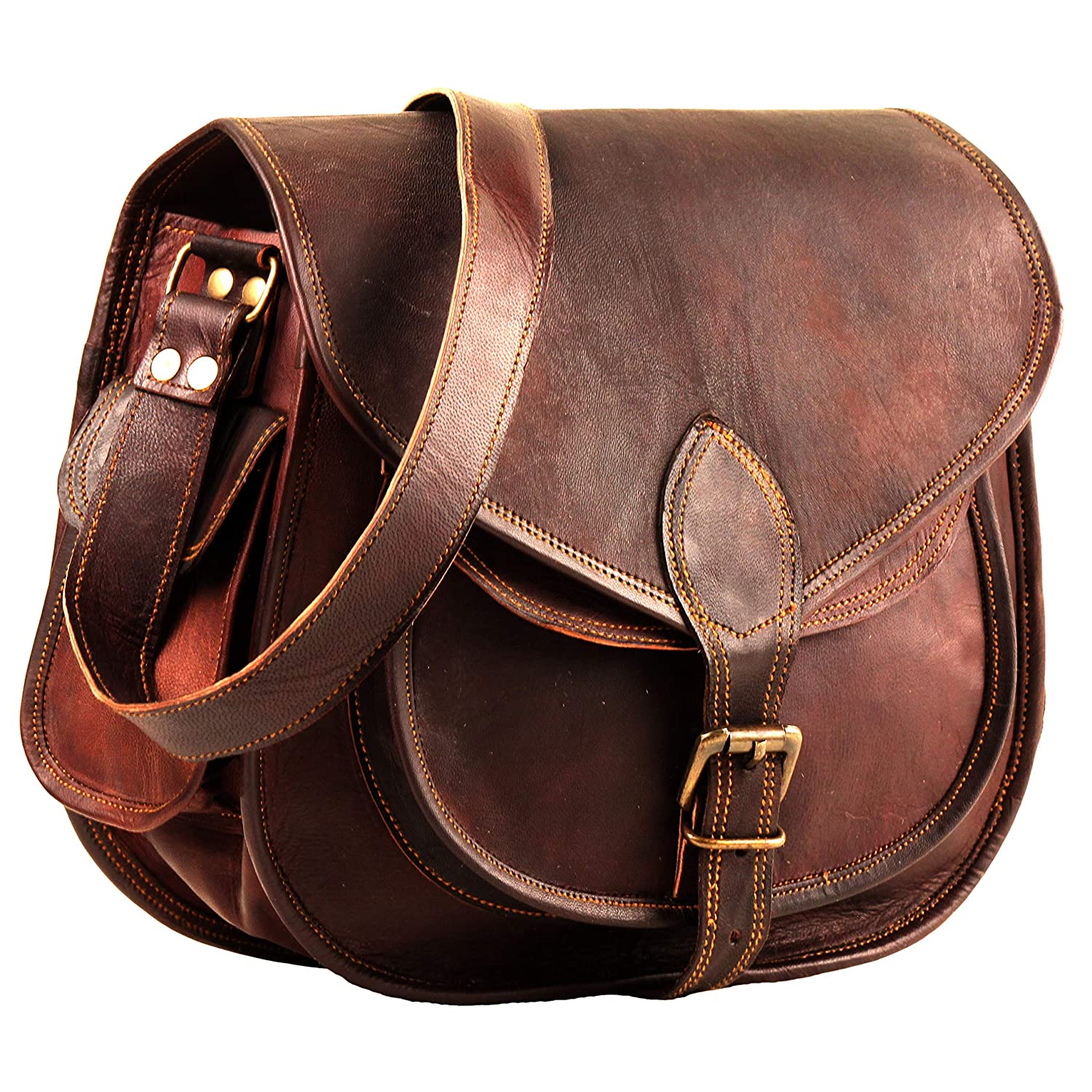 Leather Crossbody Purses Bags for Women | Small Vintage Look Leather Purses and Handbags for Women | Leather Satchel for Women | Diaper Bag for Ladies 11 Inch Handmade_World