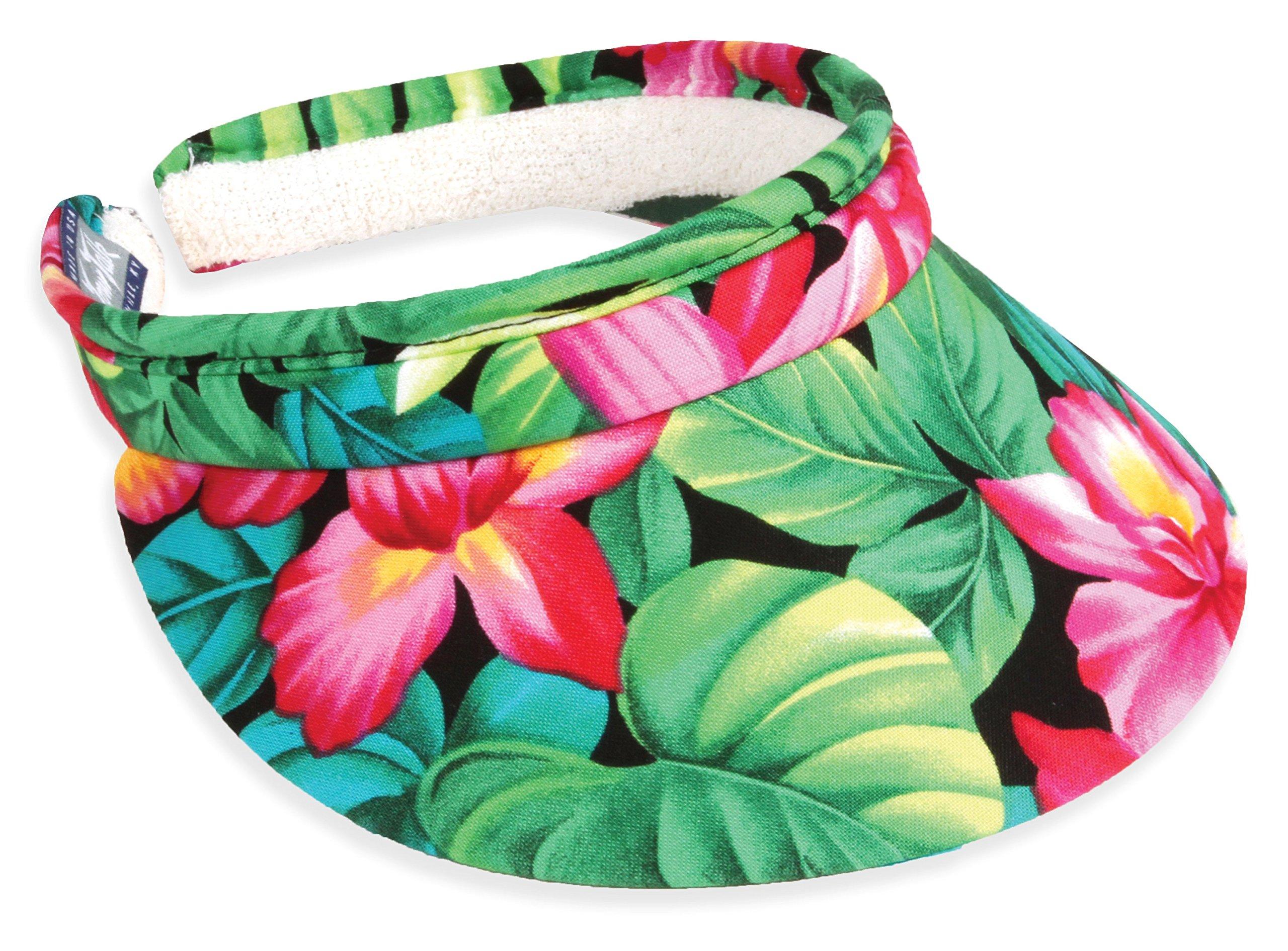 Town Talk Headwear 3inch Tropical Garden Clip on Visor