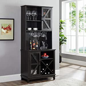 Home Source Bar Cabinet and Coffee Station (Charcoal)