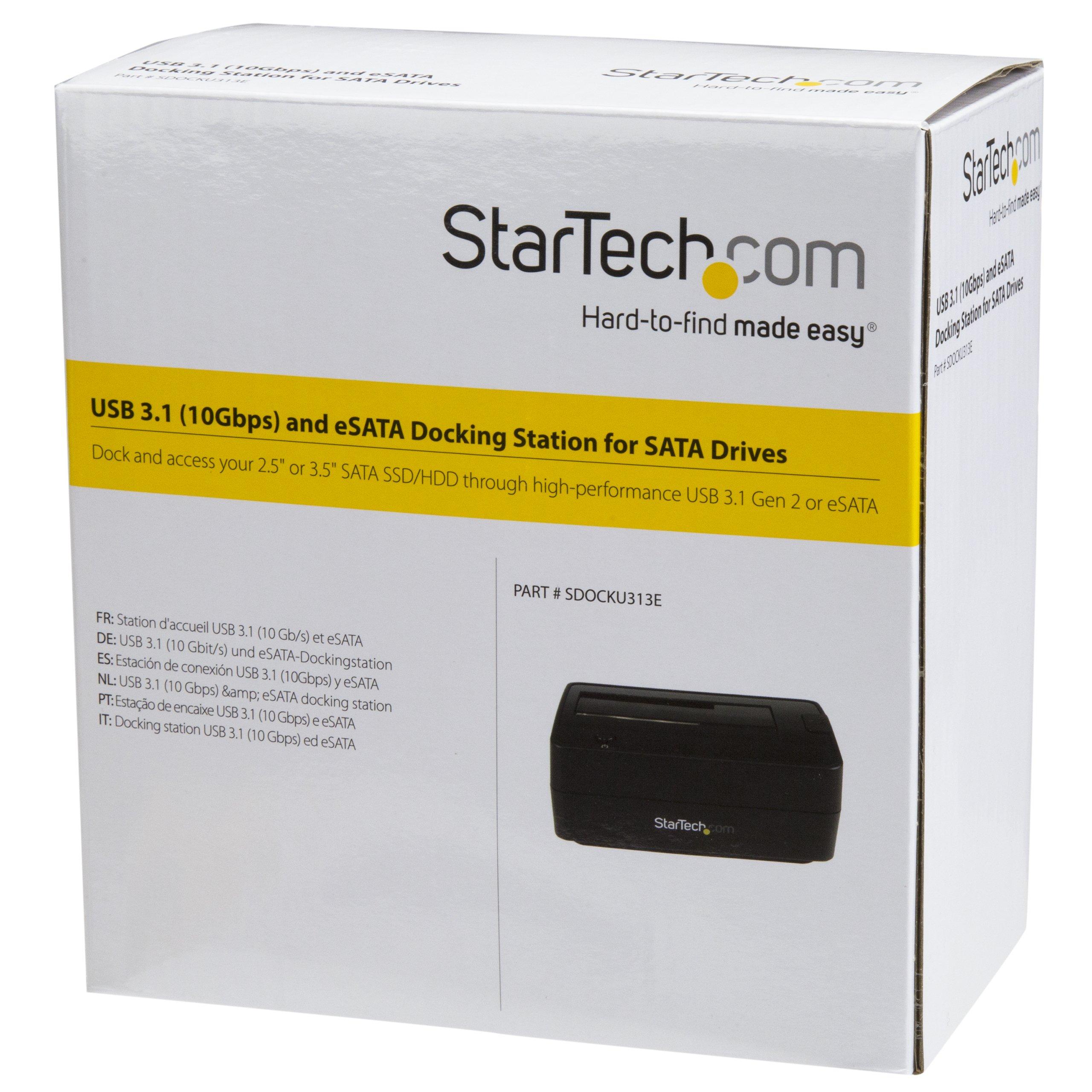USB 3.1 Hard Drive Dock - USB C/USB A/eSata - 2.5/3.5'' SATA SSD/HDD Drives - Hard Drive Docking Station