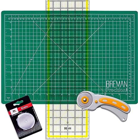 Wa Portman Rotary Cutter Set I Rotary Fabric Cutter With 5 Extra Cutter Blades I 12x18 Inch Self Healing Cutting Mat I 6x24 Inch Quilting Ruler I