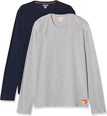 Superdry Laundry Slim Fit LS tee Double Pack Camiseta para Hombre ...