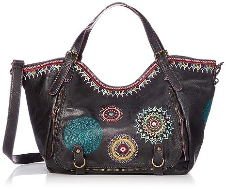 Desigual - Bols_siara Rotterdam, Shoppers y bolsos de hombro Mujer, Negro, 15x30x31 cm