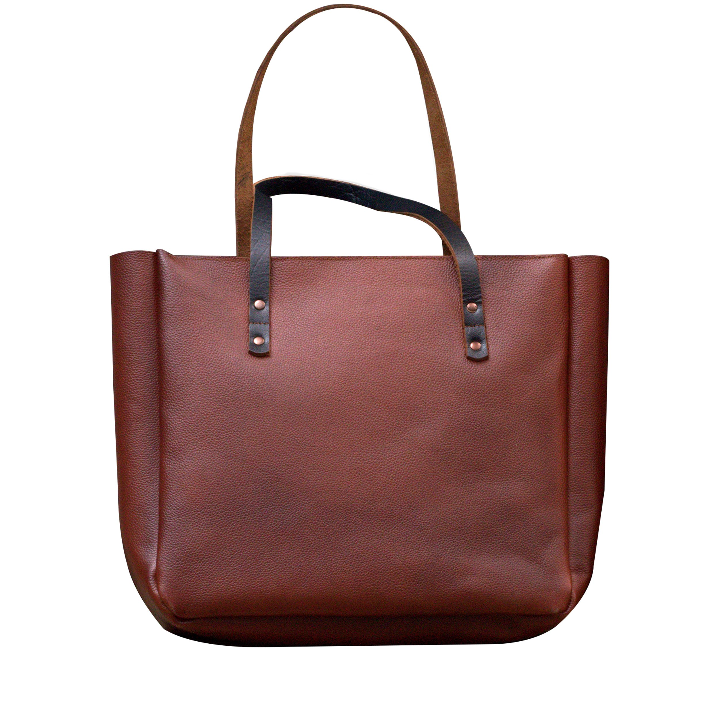 MONT5 KEL Brown Leather Tote Bag With Zipper For Women Shopper Travel Fashion
