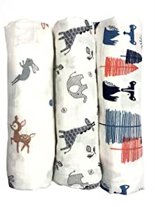 """Cotton Muslin Swaddle Blankets, Set of 3, """"My First Furry Friends"""" Perfect Baby Shower Baby Registry Gift"""