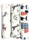 "Cotton Muslin Swaddle Blankets, Set of 3, ""My First Furry Friends"" Perfect Baby Shower Baby Registry Gift"