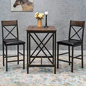 Home Source Metal Counter Height Three Piece Dining Set