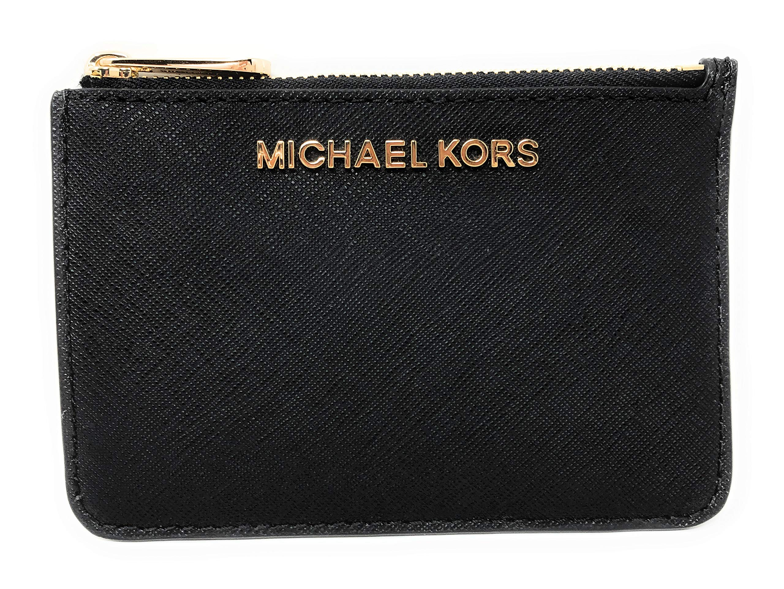 Michael Kors Jet Set Travel Small Top Zip Coin Pouch with ID Holder in Saffiano Leather (Black with Gold Hardware)