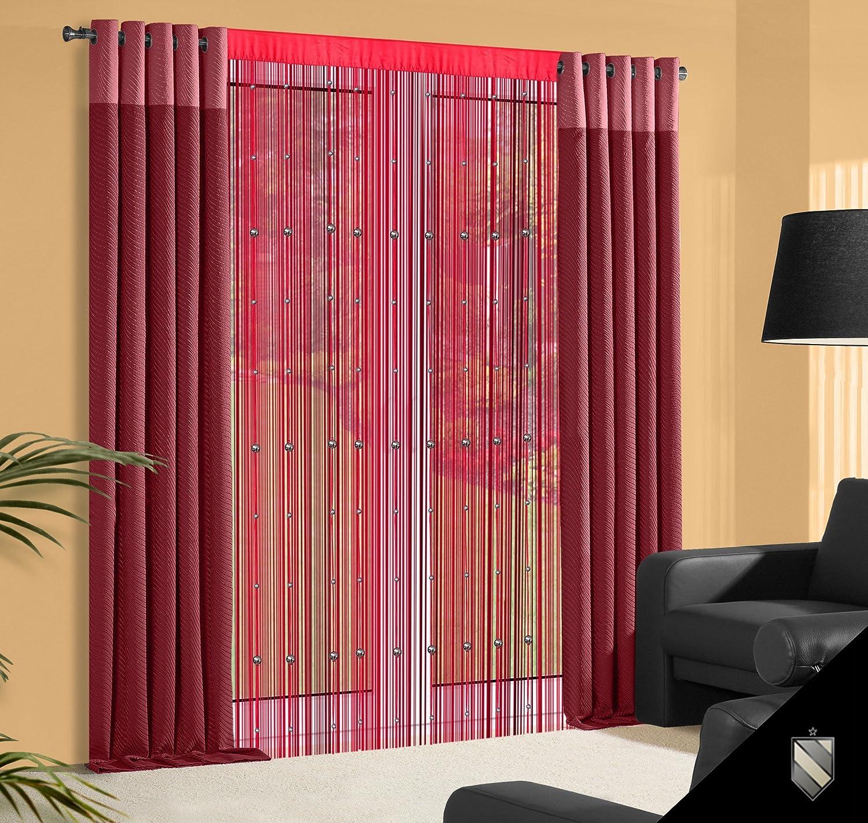 Amazon.de: 140x245 cm rot bordeaux weinrot burgund Spaghetti Vorhang ...