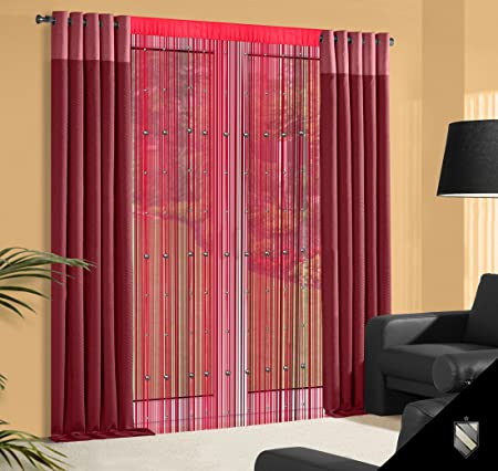 Beaded Door Curtain 140 x 245 cm wine red Bordeaux Burgund Spaghetti ...