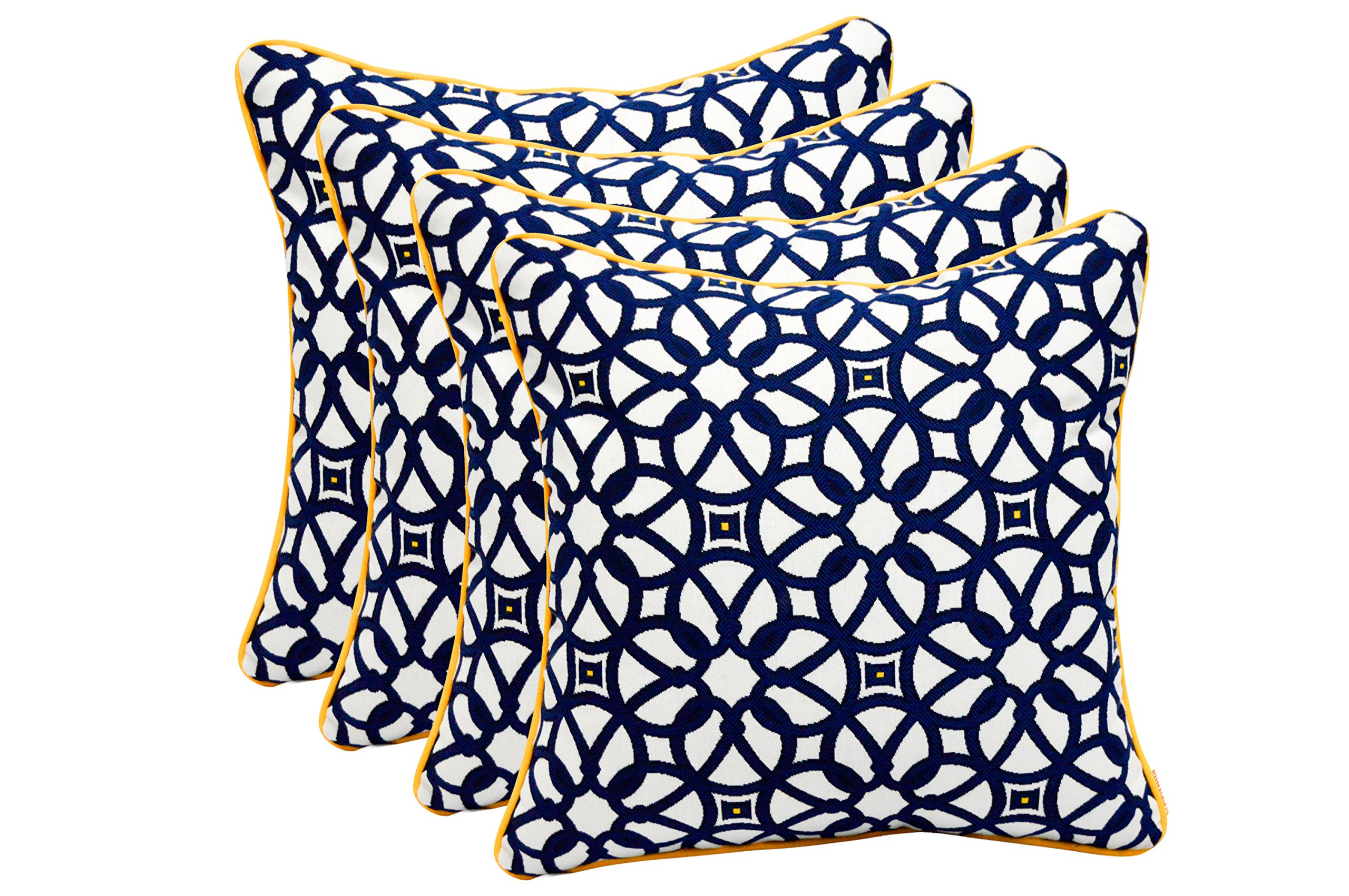 Set of 4 In Outdoor 17'' Square Decorative Throw Pillows - Sunbrella Lux Indigo w/ Yellow Cording
