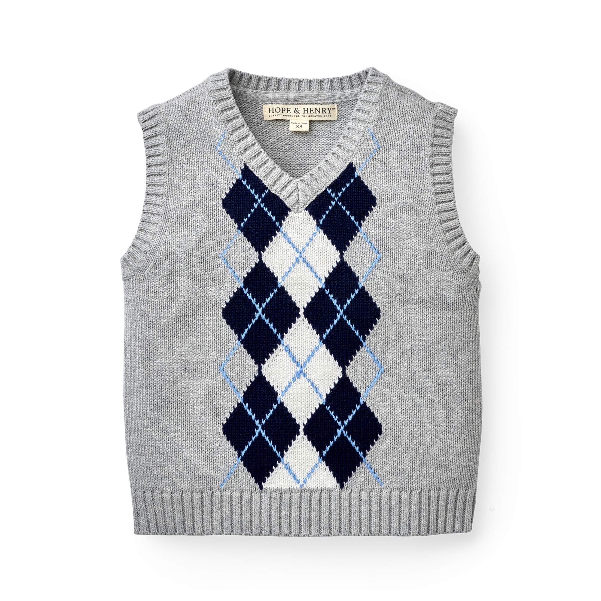Hope & Henry Boys' Grey Argyle Cable Sweater Vest