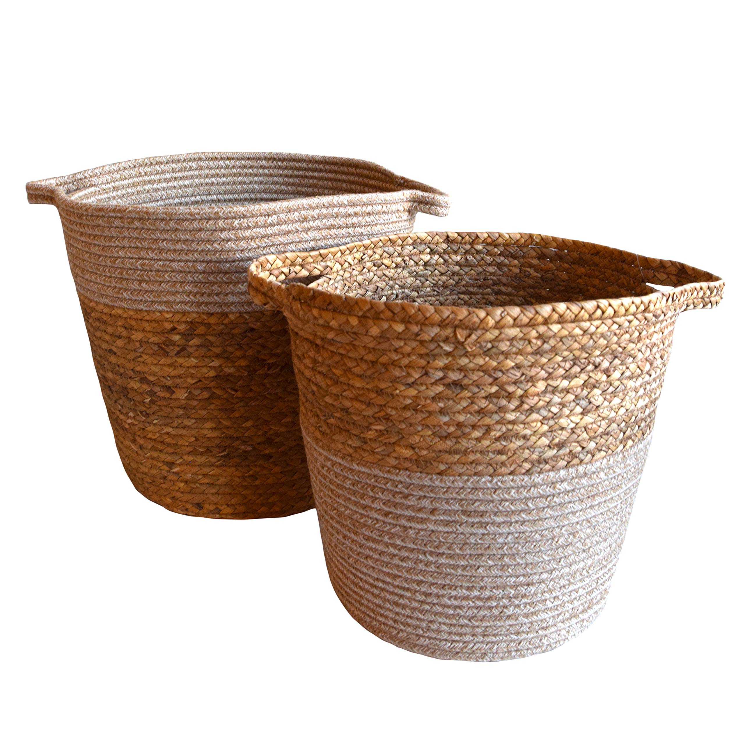 DUFMOD Handwoven Natural Seagrass and Cotton Basket for Storage or Planter (White top Bottom 2 pc Set, Large)